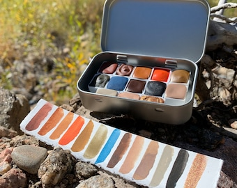 Canyon Colors, a handmade watercolor palette in a new tin