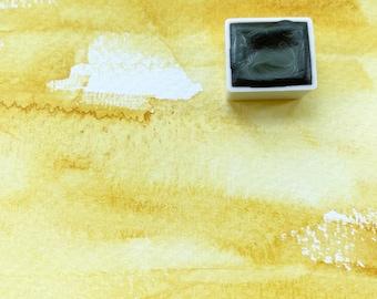 Indian Yellow. Half pan, full pan or bottle cap of handmade watercolor paint