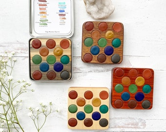 Fresh Air Collection Wood Palette, handmade watercolors in a wood insert