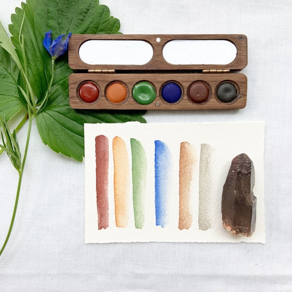 The Lake Palette. Handmade watercolor paint sets featuring 6 lake-inspired colors