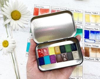 Colorado Bluebird Sky Palette, a handmade watercolor palette in a new tin