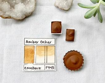 Amber Ocher. Half pan, full pan or bottle cap of handmade watercolor paint
