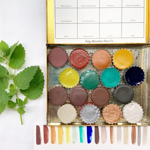 The Chesterfield Set, a handmade watercolor set featuring 20 colors