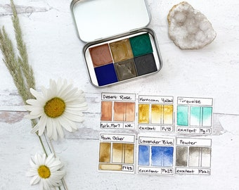 The Desert Rose Palette, a handmade watercolor palette in a new tin