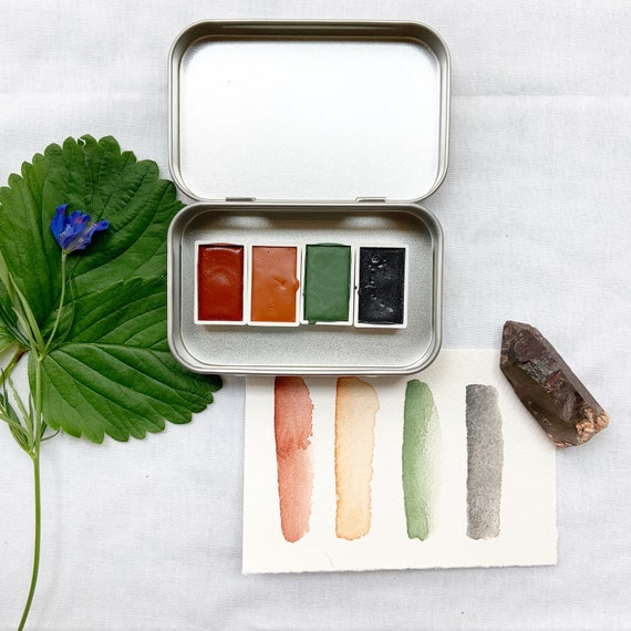The Warm Days Set, a handmade watercolor set featuring four full pans
