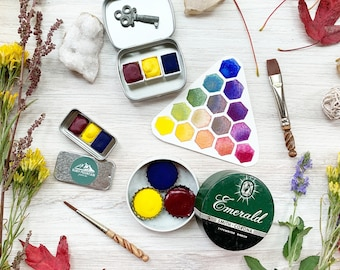 The Perfect Primary Trio, a set of 3 handmade watercolors in a new tin