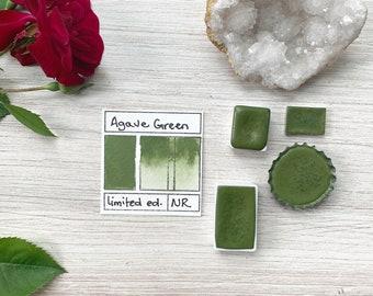 Agave Green. Half pan, full pan or bottle cap of handmade watercolor paint