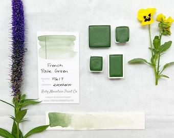 French Pale Green. Half pan, full pan or bottle cap of handmade watercolor paint