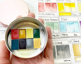 The Early September Palette, a handmade watercolor palette in a new tin
