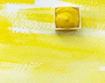 Canary Yellow. Half pan, full pan or bottle cap of handmade watercolor paint