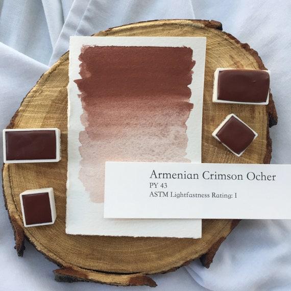Armenian Crimson Ocher. Handmade watercolor paint in half pan, full pan or bottle cap