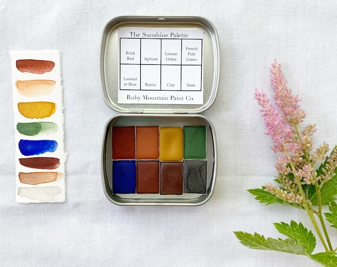 Featured listing image: The Sunshine Palette, a set of 8 colors of handmade watercolor paint in a new tin