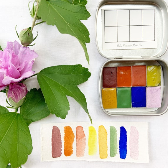 The Rocky Mountain Traveler's Set: A mini palette of handmade watercolors in a new travel tin