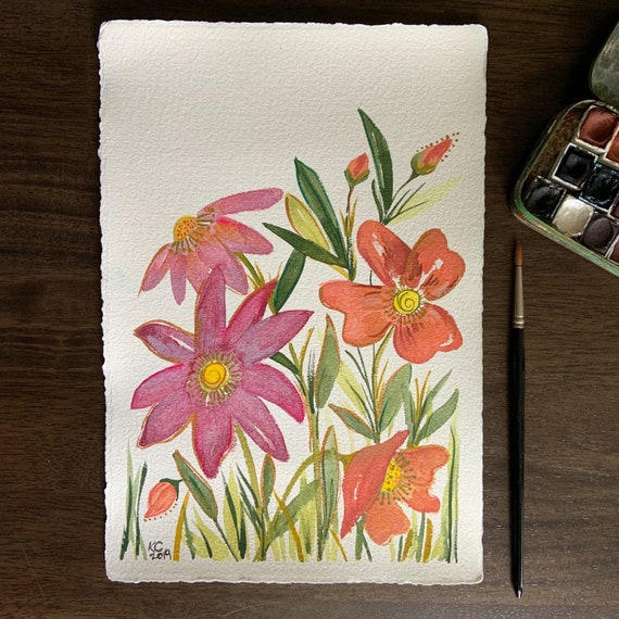 Purple and Orange Wildflowers - original watercolor painting