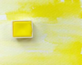 Bismuth Lemon. Half pan, full pan or bottle cap of handmade watercolor paint