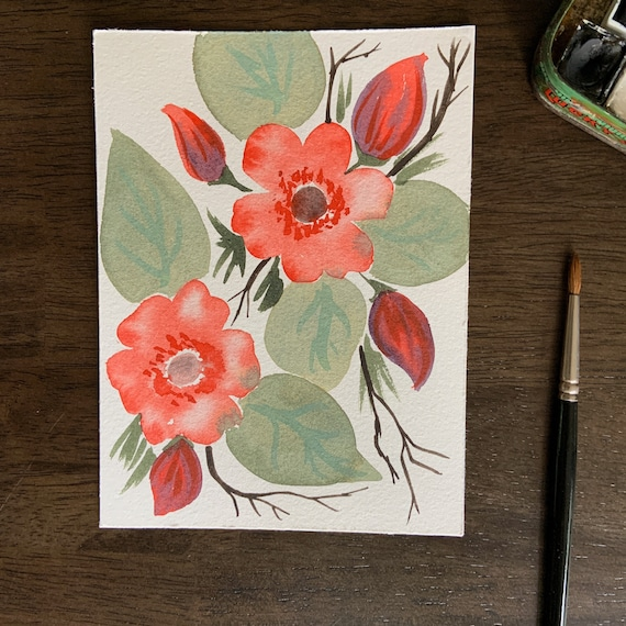 Forest Roses- original watercolor painting