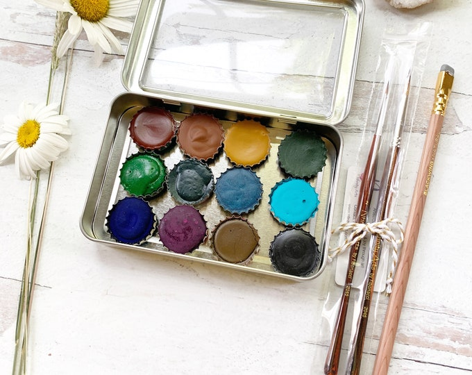 Featured listing image: The Mountain Top Palette Set, a handmade watercolors paint set