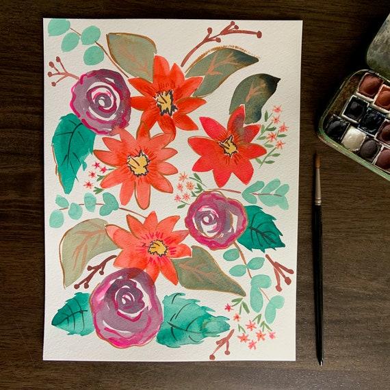 Roses & Lillies- original watercolor painting