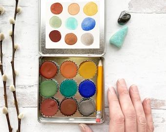Torrey's Peak Set, a bottle cap set of handmade watercolor paint in a new tin