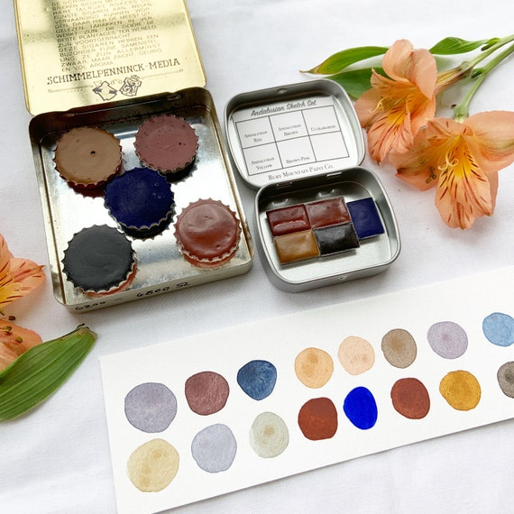The Andalusian Sketch Set.  A handmade watercolor paint set featuring 5 ochres
