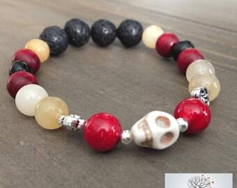 "Natural Stone Elastic Bracelet - ""Live To The Fullest"" (Golden Jade, Horn, Bone, Riverstone, Lava Rock)"