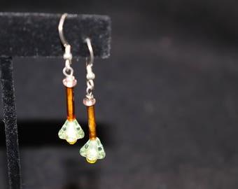 Yellow Drop Flower Sterling Earrings