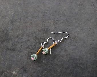 Light Pink Drop Flower Sterling Silver Earrings