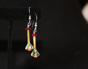 Orange Drop Flower Sterling Earrings
