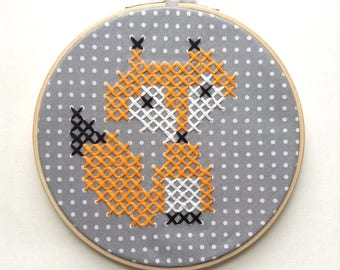 6 inch Curious Fox XL Mini Cross Stitch Embroidery in Orange & Gray Polka Dots