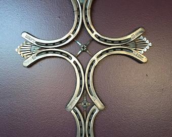 Horseshoe Cross with Horseshoe Nail Accents