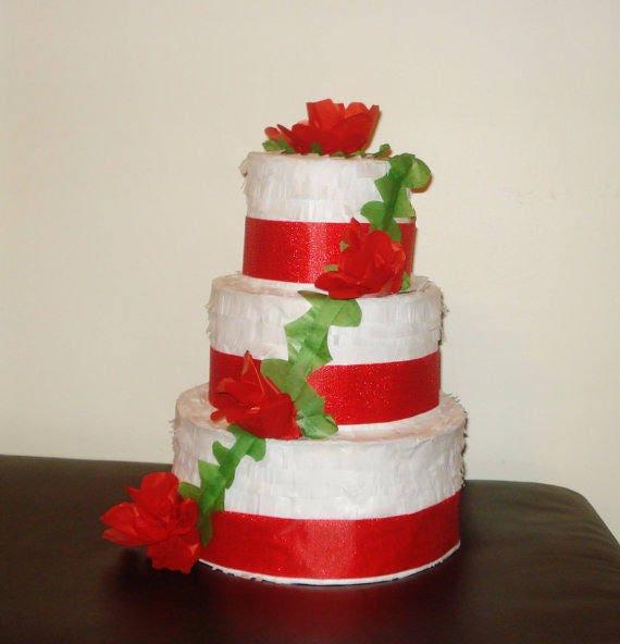 Outstanding Red Wedding Cake Pinata Birthday Cake Pinata Etsy Personalised Birthday Cards Beptaeletsinfo