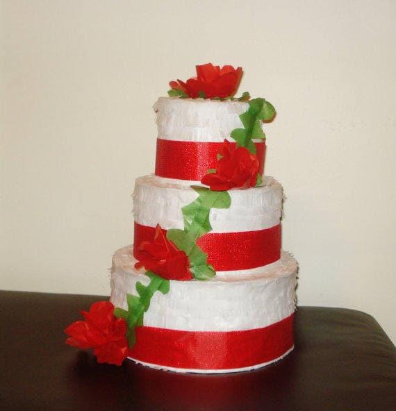 Pleasing Red Wedding Cake Pinata Birthday Cake Pinata Etsy Funny Birthday Cards Online Alyptdamsfinfo