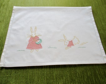 Vintage Childrens Nightdress case with Cute Rabbits in the design.