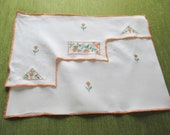 Vintage Nightdress Case -  Art Deco embroidered design - Linen