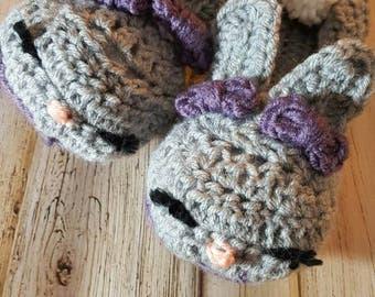 Crocheted women's Bunny slippers