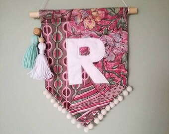Pink Initial wall banner/ Wall flag/ Personalised wall pennant/Baby Shower Gift/ New Baby Gift,