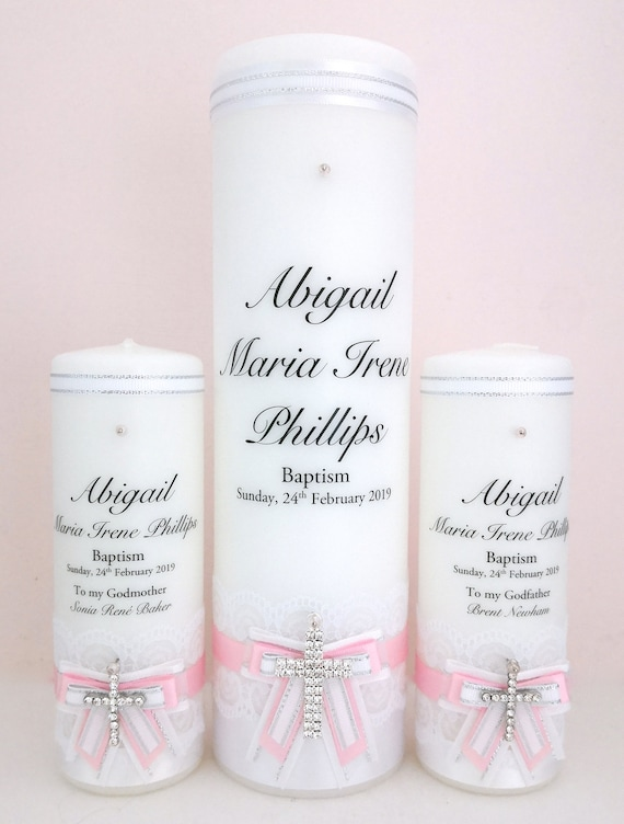 Personalised Baptism and Christening Candle Set, Lace.