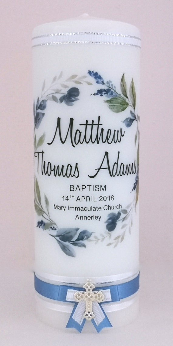 Personalised Baptism and Christening Candle Navy Wreath