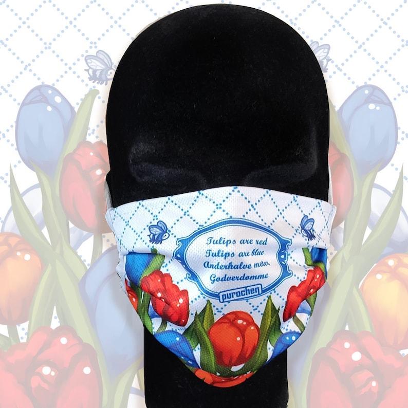 Godverdomme  Large Adult Face Mask  Rude Dutch Tulips  image 1