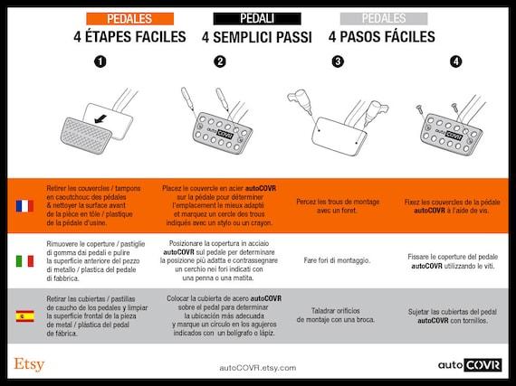 Acier inoxydable pas de forets et antid/érapant P/édale Repose-pieds Pad Autocollant