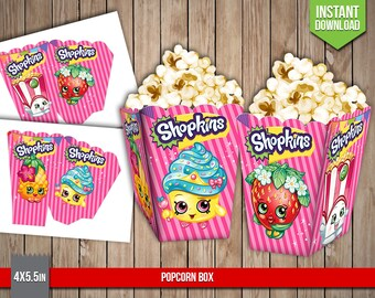 Good SHOPKINS Popcorn Box   Shopkins Popcorn Box Party Favors Table Printable  Decoration   Digital PDF Files, Instant Download