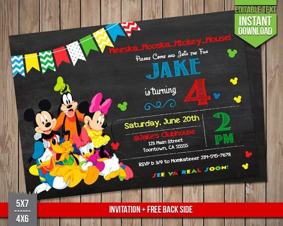Disney Friends Invitation Mickey Goofy Donald Minnie Etsy
