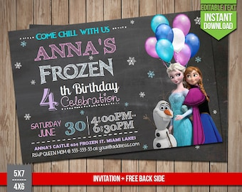 FROZEN Invitation - Disney Frozen chalkboard Invite, Editable Text PDF Birthday Elsa, Anna, Olaf Invitation, Instant Download