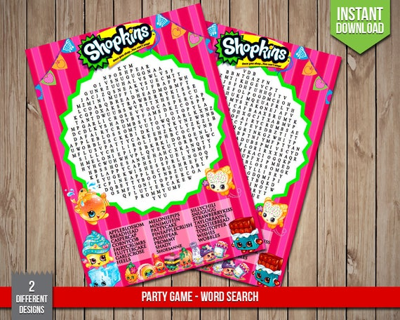 Delightful SHOPKINS Word Search Game Party Game Shopkins Birthday