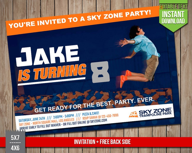 photo regarding Printable Sky Zone Waiver known as SKY ZONE Invitation - Sky Zone Trampoline Park Invite, Editable Words and phrases PDF Birthday Get together Invitation, Prompt Obtain