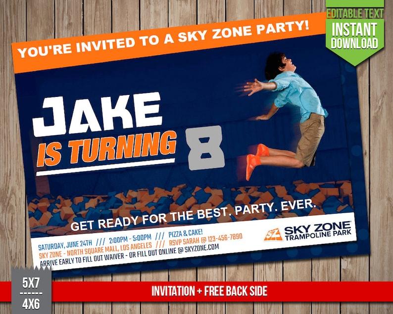 photo about Printable Sky Zone Waiver known as SKY ZONE Invitation - Sky Zone Trampoline Park Invite, Editable Phrases PDF Birthday Social gathering Invitation, Fast Obtain