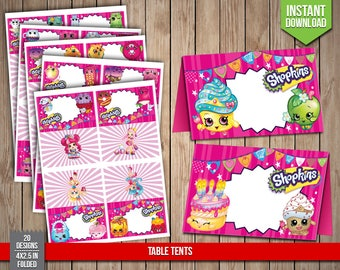 SHOPKINS Table Tents - Shopkins Food Tents, Shoppies Labels Favors Table Party Decoration Tent Tags - Digital JPG Files, Instant Download