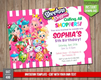 SHOPKINS Invitation - Shopkins Invite, Editable Text PDF Birthday Party Shoppies Invitation, Instant Download