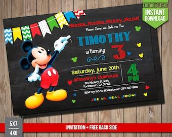 DISNEY MICKEY Invitation - Mickey Mouse Invite, Editable Text PDF Birthday Party Disney Invitation, Instant Download