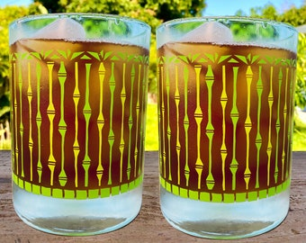 Set of 2 Tikay Bamboo Forest mid-century style cocktail glass